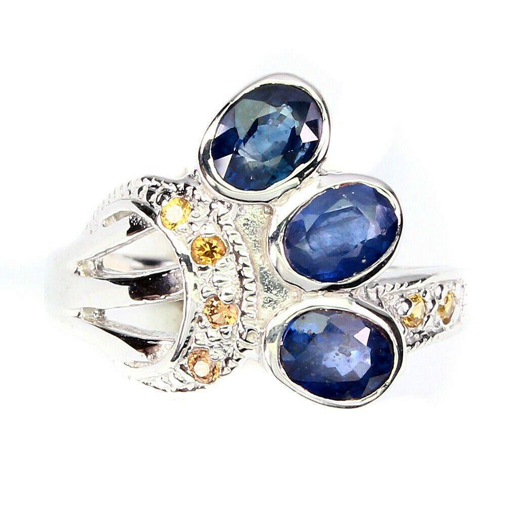 Серебряное Кольцо с натуральными Сапфирами (синими и оранжевыми)