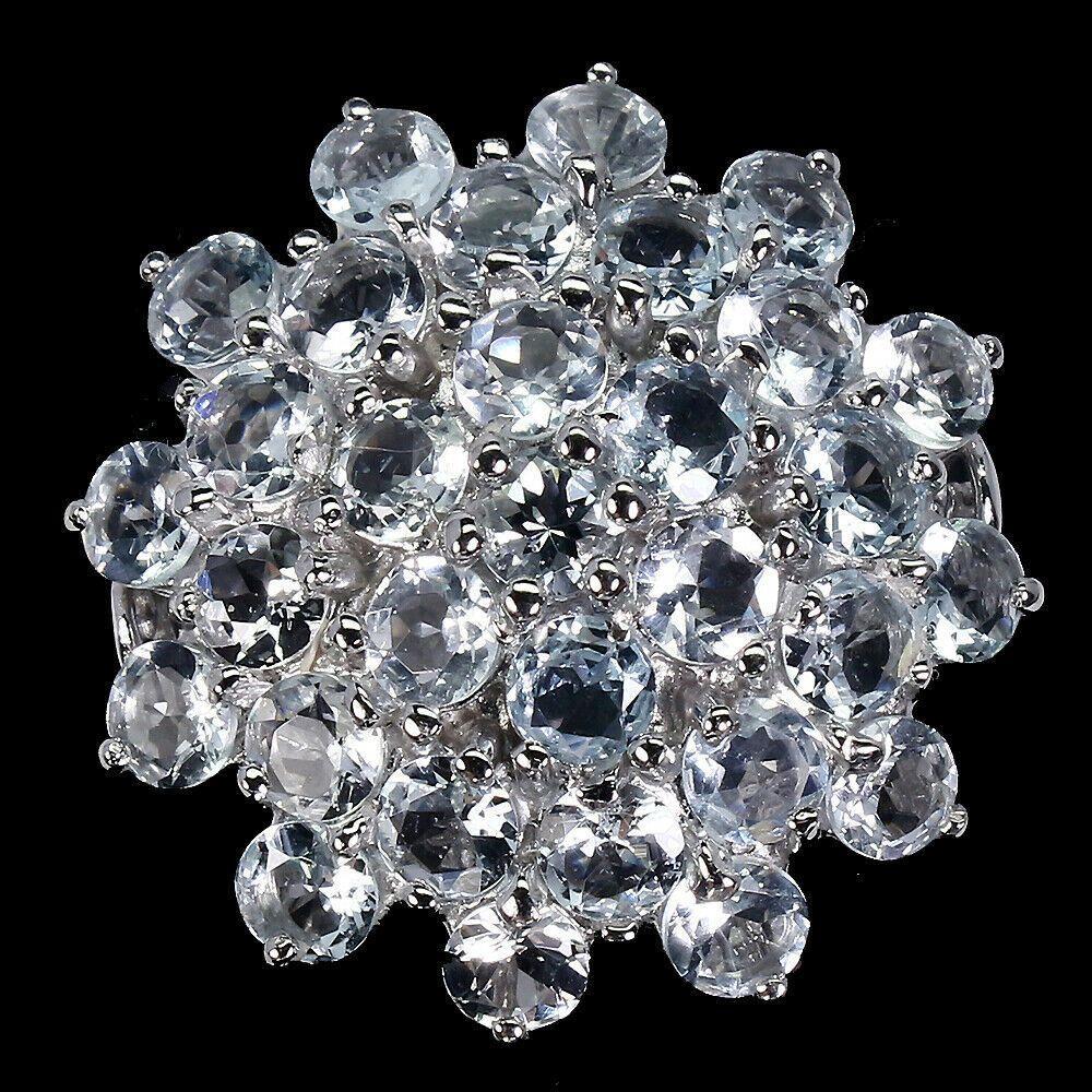 Крупное серебряное Кольцо с Аквамаринами
