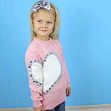 1308бор Свитер для девочки Сердце бордовый тм Junior размер 5-6,7-8,9-10 лет