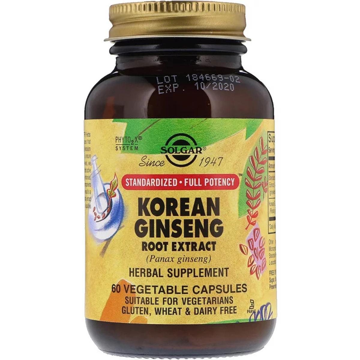 Корень Женьшеня (Экстракт), Korean Ginseng Root Extract, Solgar, 60 капсул