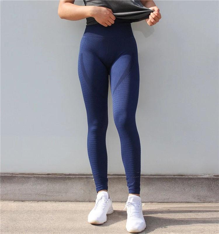 Спортивные Леггинсы с высокой талией La_sportive 0550 Синие M-L
