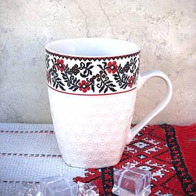 Висока біла керамічна кружка з тисненням HLS Вишиванка 340 мл (2667), фото 2
