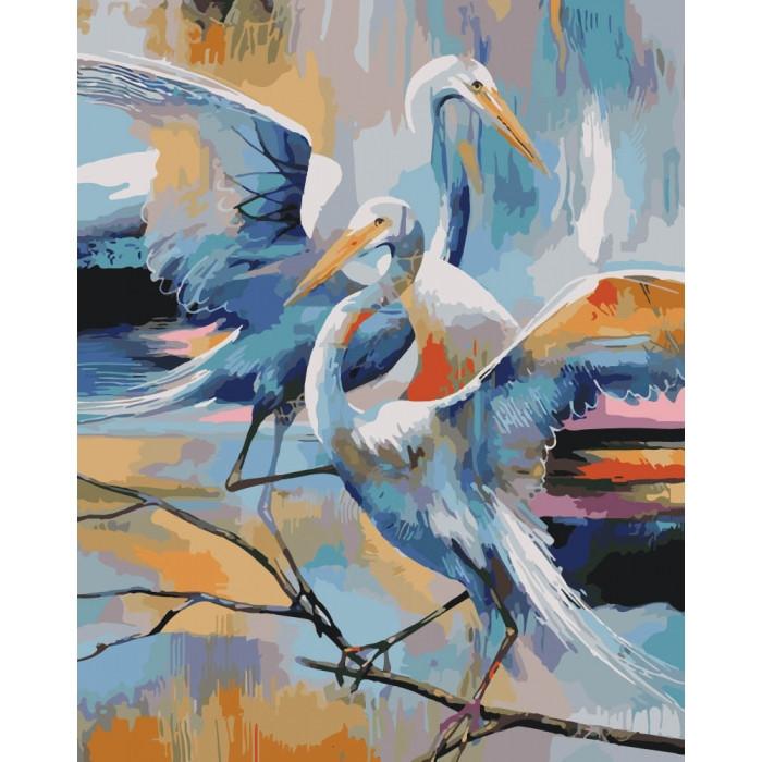 """Картина по номерам. Животные, птицы """"Грациозные журавли"""" 40*50см KHO4044"""