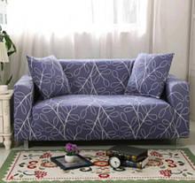 Чехол для двухместного дивана, синий с узором