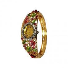 Кварцевые часы с цветочным орнаментом, золотистый