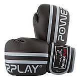 Боксерські рукавиці PowerPlay 3010 Чорно-Сірі 16 унцій SKL24-144004, фото 7