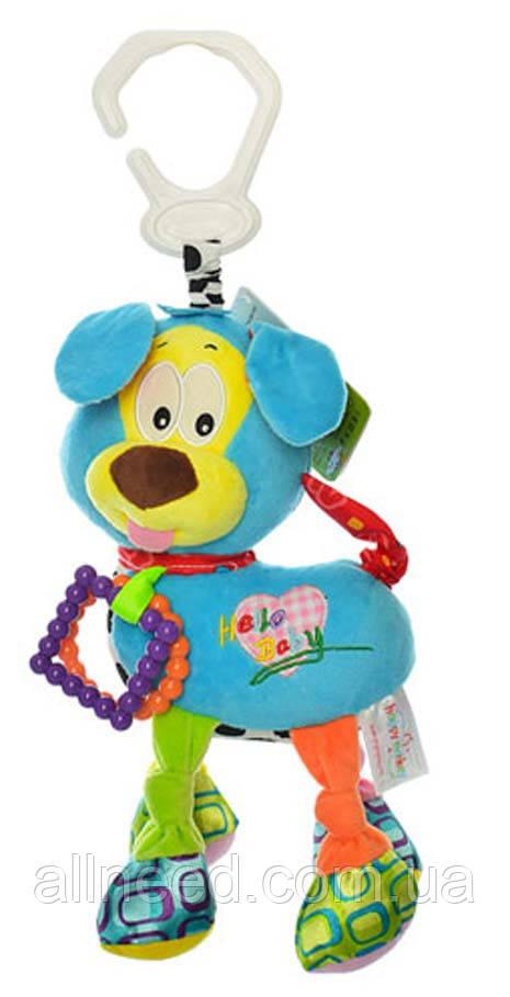 Подвеска на коляску H168096-4A (Красная) собачка, 38см, плюш, 4цвета, в кульке, 20-15-7см (Голубая)