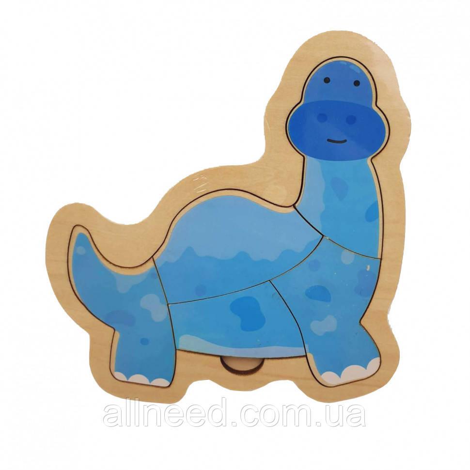 Деревянная игрушка Пазлы MD 2283 (Динозавр Синий)