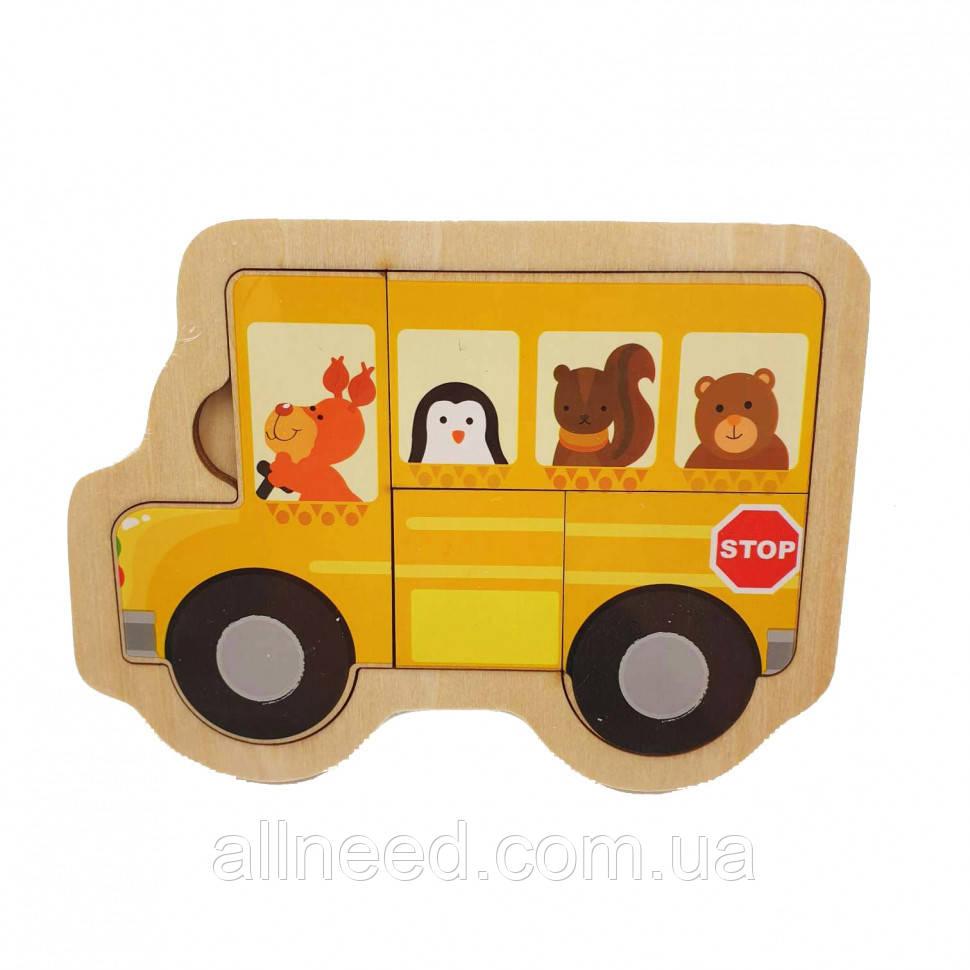 Деревянная игрушка Пазлы MD 2283 (Жёлтый автобус)