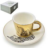 "Чашка с блюдцем анаморф ""Леопард"" 90мл R88431"