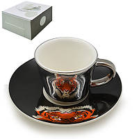 "Чашка с блюдцем анаморф ""Тигр"" 90мл R88432"