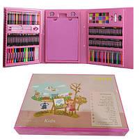 Детский набор для рисования в чемоданчике из 176 предметов - Розовый