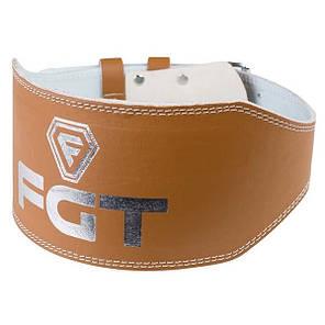 Пояс атлетический широкий коричневый FGT, PU, размер L, фото 2