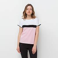 Футболка LINS Ксения (белый + нежно-розовый и черный)