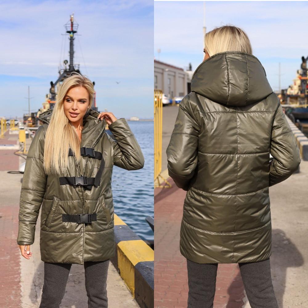 Женская куртка, плащёвка Канада + синтепон 150, р-р 42; 44; 46; 48 (хаки)
