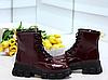 Ботинки женские бордовые из лаковой эко-кожи, фото 6