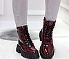 Ботинки женские бордовые из лаковой эко-кожи, фото 4