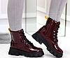 Ботинки женские бордовые из лаковой эко-кожи, фото 5