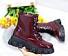 Ботинки женские бордовые из лаковой эко-кожи, фото 7