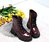 Ботинки женские бордовые из лаковой эко-кожи, фото 8