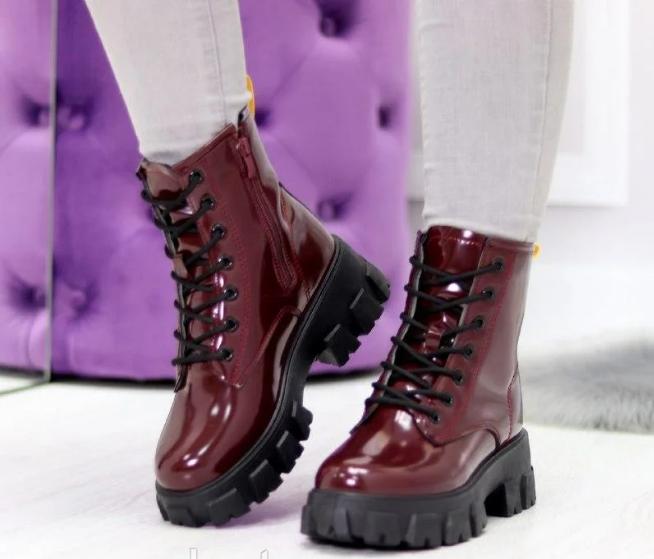 Ботинки женские бордовые из лаковой эко-кожи