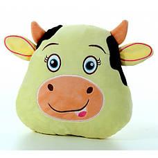 Мягкая игрушка подушка Бычок серый, размер 26*29см, фото 2