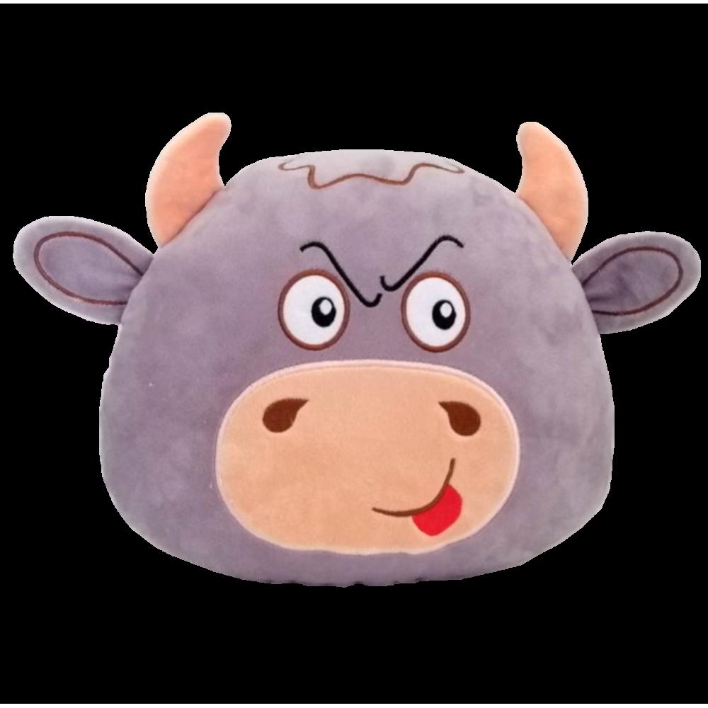Мягкая игрушка подушка Бычок серый, размер 26*29см