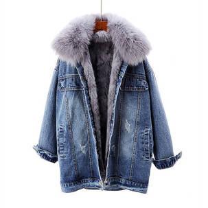 Женская джинсовая курточка с натуральным мехом, фото 2