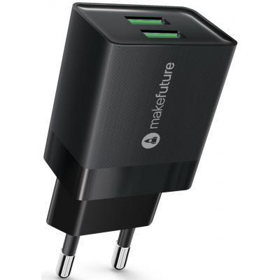 Зарядное устройство MakeFuture 2.4A 2USB Auto-ID Black (MCW-22BK)