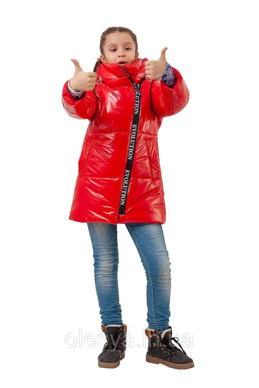 Демисезонная удлиненная куртка Бренд для девочки  Размеры 128 - 152
