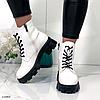 Ботинки женские белые из лаковой эко-кожи, фото 2