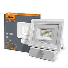 Прожектор 20W з датчиком руху 5000K 220V 1800Lm White VIDEX