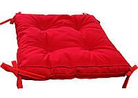 """Мягкая подушка на стул 40х40х5 с завязками """"COLOR"""" (красная)"""