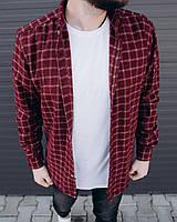 Мужская байковая рубашка (Бордовый) 0310-17