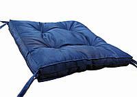 """Мягкая подушка для сидения 40х40х5 с завязками """"COLOR"""" (синяя)"""