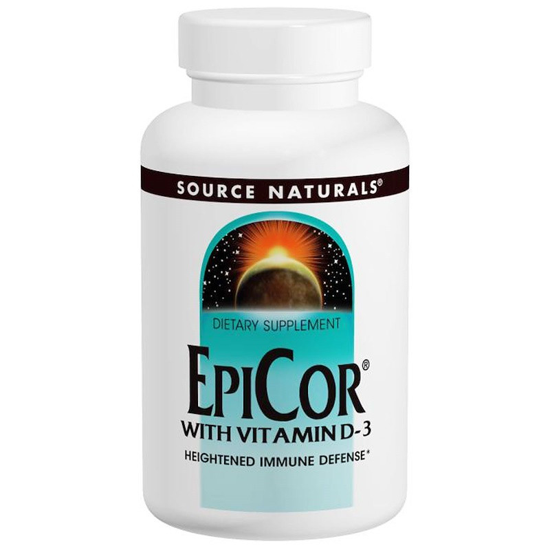 Source Naturals, EpiCor для иммунитета (От Saccharomyces cerevisiae), Эпикор с D3 30 капсул