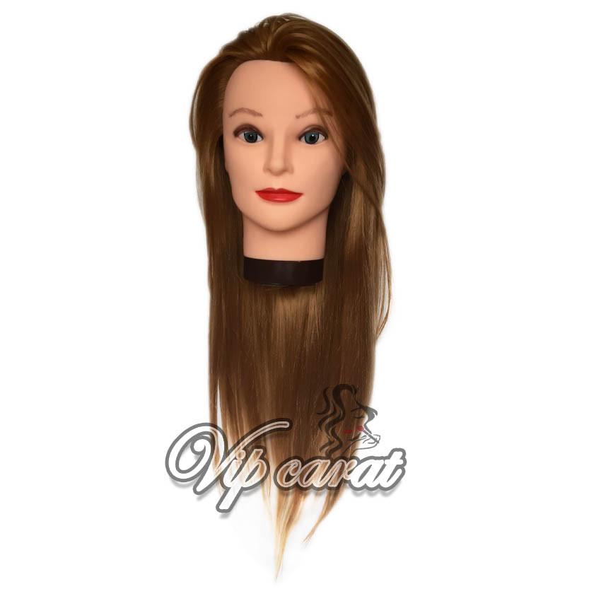 Манекен голова кукла для причесок с термо волосами / учебная голова манекен для парикмахера