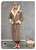 Чоловічий халат Nusa з капюшоном, бежевий