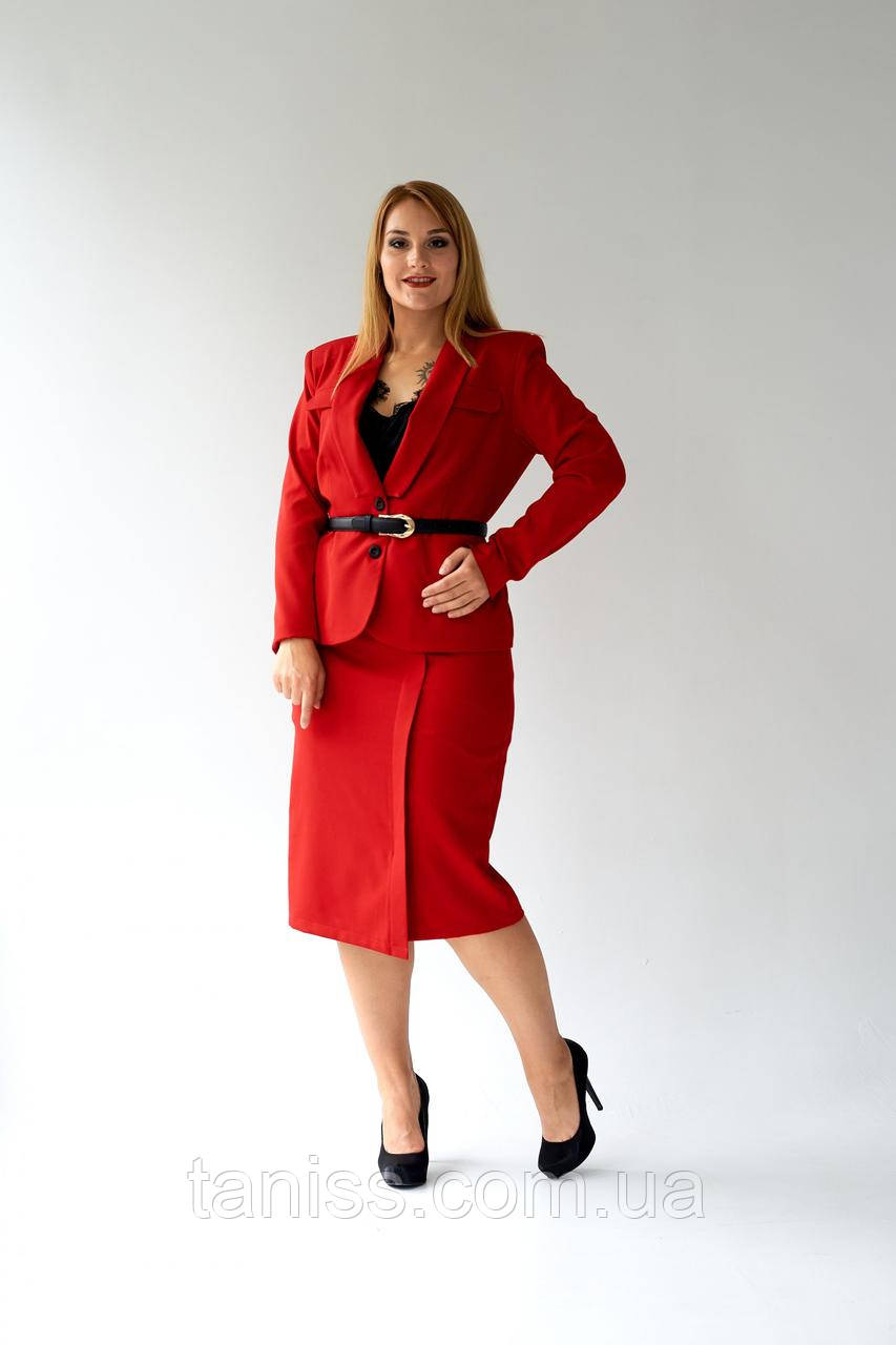 """Жіночий жакет """"Роберта"""", тканина костюмка , розміри 48,50,52,54 червоний,жакет"""