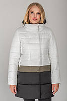 Белая с полосой цвета хаки удлиненная куртка Томи демисезон размеры 42- 52