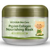 Коллагеновая маска для лица BIOAQUA Pigskin Collagen тонизирование Оригинал Биоаква 100 г