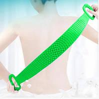 Двухсторонняя силиконовая мочалка-массажер для тела Silica Gel Bath Brush салатовая