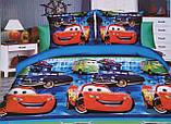 Подростковое постельное полуторное белье Тачки, 3D рисунок, 100% хлопок, фото 3