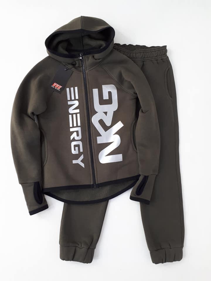 Теплый  спортивный костюм  NRG  начес  с перчаткой цвет хаки
