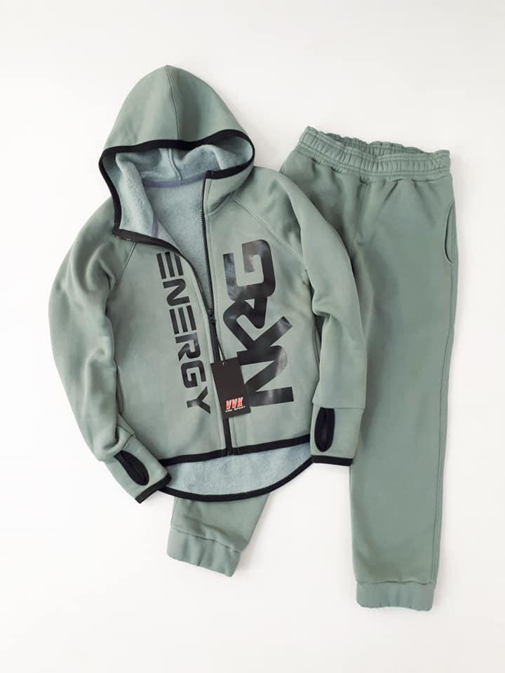 Теплый  спортивный костюм  NRG  начес  с перчаткой цвет олива