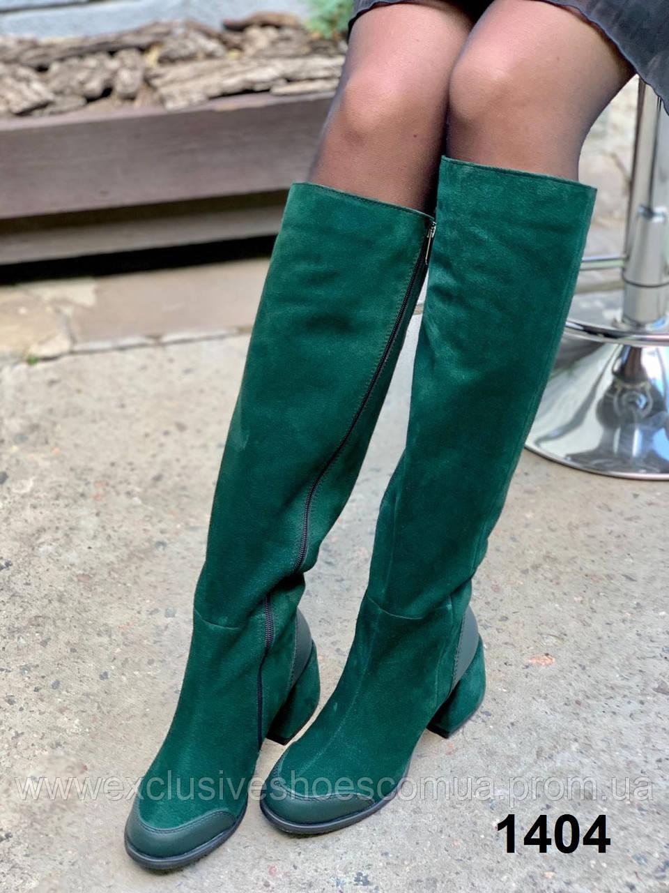 Жіночі замшеві зимові чоботи в замші смарагд на підборах