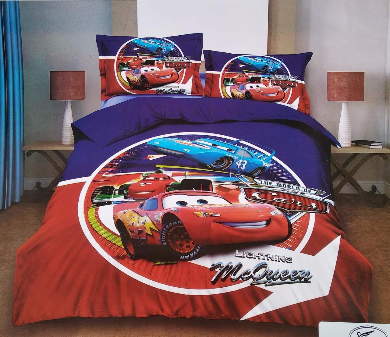 Подростковое постельное полуторное белье Тачки, 3D рисунок, 100% хлопок