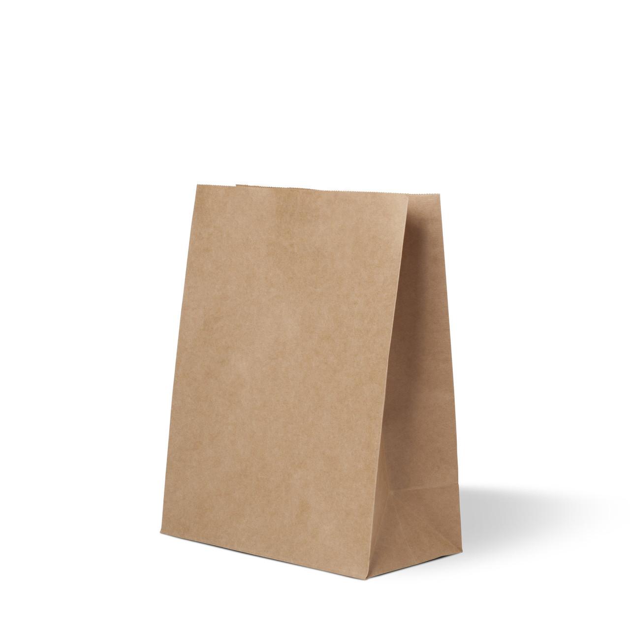 Бумажный пакет 230х110х290 бурый без ручек, плотность 90г/м²