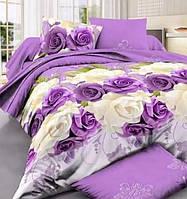 Двухспальный постельный комплект-Розы на фиолет
