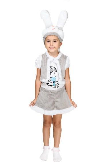 Карнавальный костюм ЗАЙЧИК СЕРЫЙ МЕХОВЫЙ для девочек 3-7 лет, детский новогодний костюм Зайка маскарадный